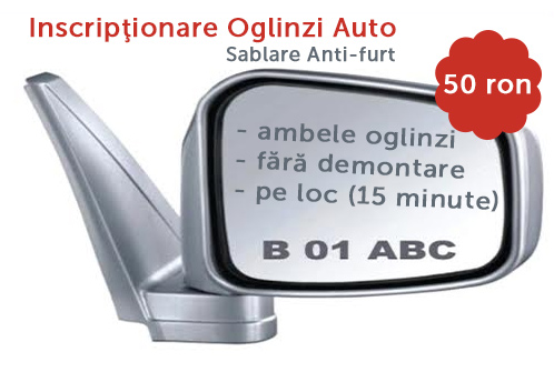 Sablare oglinzi auto - inscriptionare
